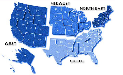 Maps Usa Map Regional - Us map with north south east west